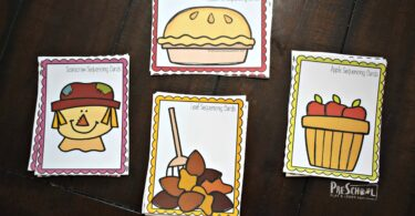 Super cute, free printable fall sequencing cards for preschool, prek and kindergarten math
