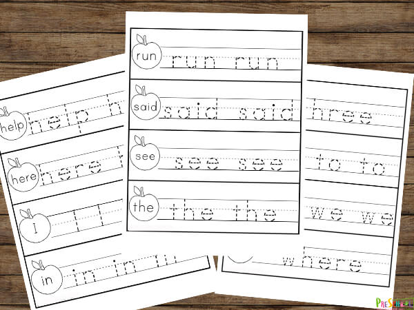 low prep sight word tracing for pre primer sight words; laminate to make these reusable