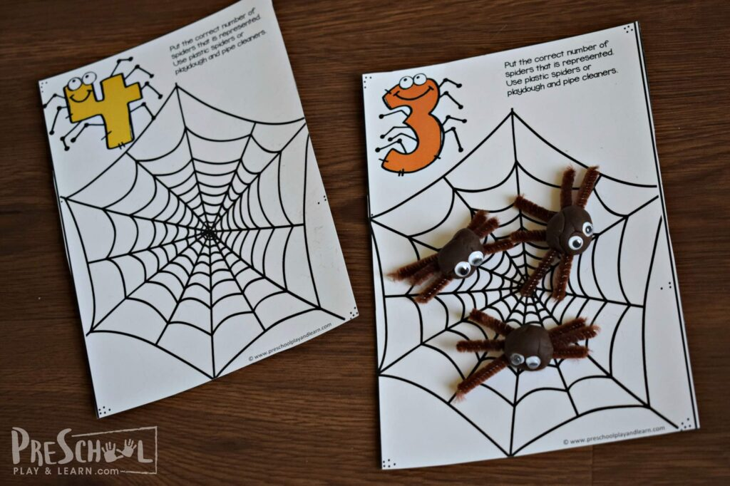 fun spider activity for preschool age kids practicing counting to 10
