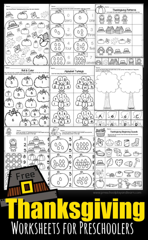 FREE Thanksgiving Worksheets For Preschoolers