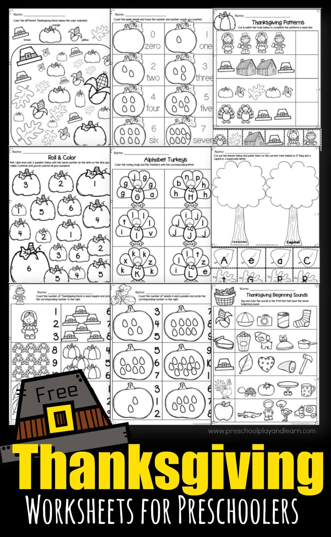 - Thanksgiving Worksheets For Preschoolers