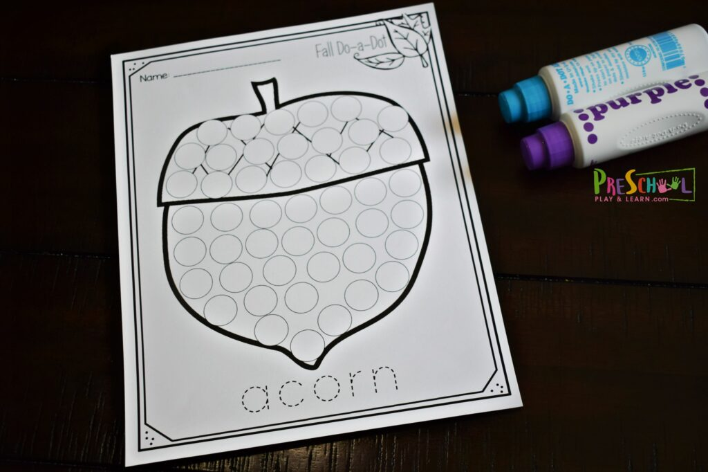 acorn bingo dauber printable for preschoolers, toddlers, and kindergartners