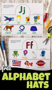 free printable alphabet hats for toddlers, preschoolers, and kindergartners to learn abcs from A to Z