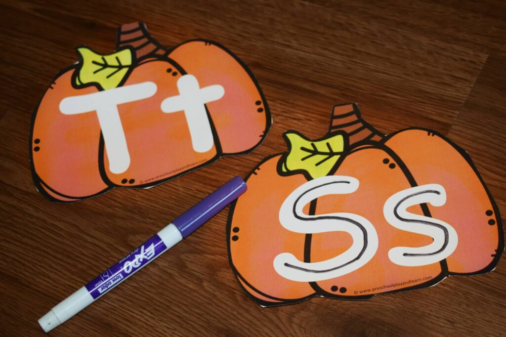 Pumpkin themed alphabet printables for fall - Fun hands on activity for literacy center.