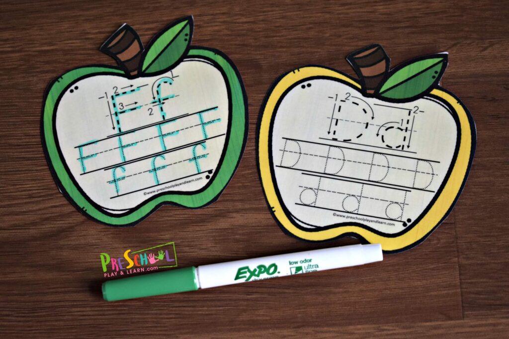 Super cute fall themed alphabet tracing activity for preschooll, prek, and kindergarten age kids