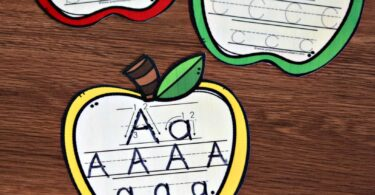 FREE Apple Alphabet Tracing Cards - this apple printable is a fun way for preschool, prek, and kindergarten age kids to practice upper and lowercase letters #alphabet #preschool #kindergarten