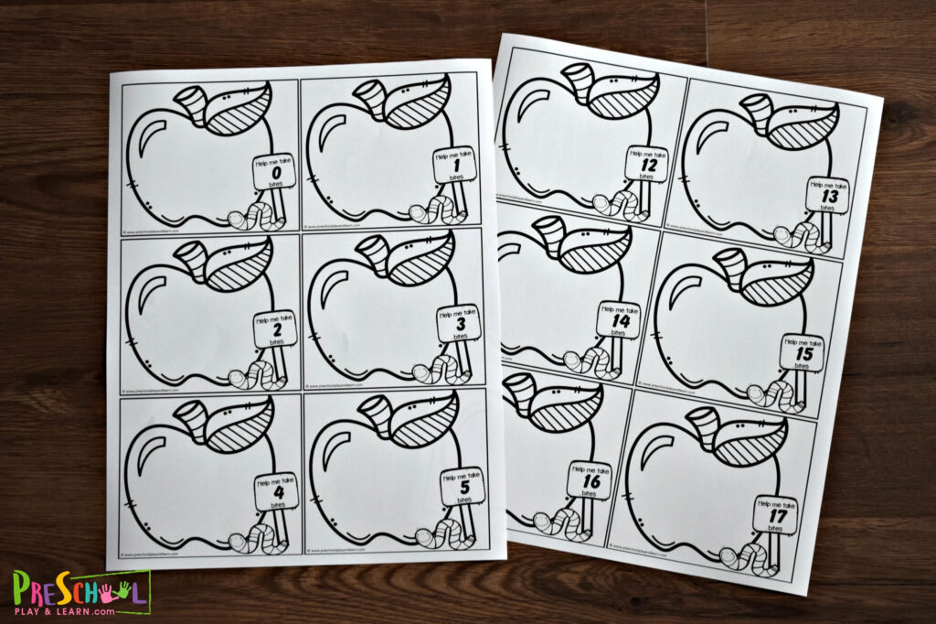 Fun apple counting activity that is low prep in black and white
