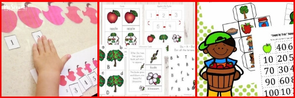 fun, free apple printables for preschool, prek, and kindergarten age kids