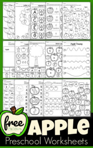 Apple Worksheets for preschool, prek, and kindergarten