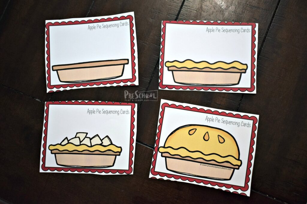 These apple pie sequencing picture cards are a fun sequencing activity for preschoolers and kindergartners in the fall