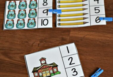 FREE First Day of School Count & Clip Cards - this free printable Kids will have fun practicing counting to 10 with these free Count & Clip Cards perfect for Back to School Preschool Math. activity is a great way to kick off the school year #backtoschool #preschool #counting