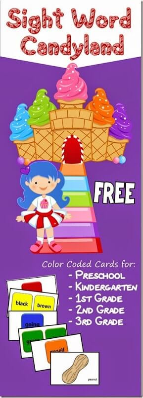 Candyland Sight Words Game for pre k
