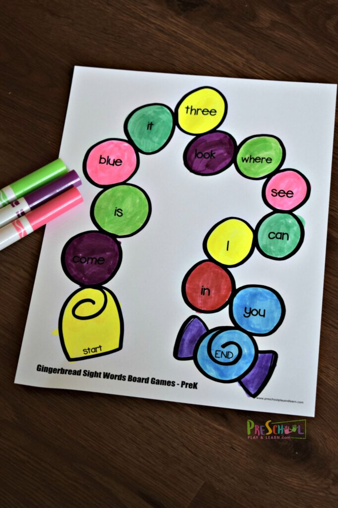 Fun free printable Christmas Games to practice preschool sight words