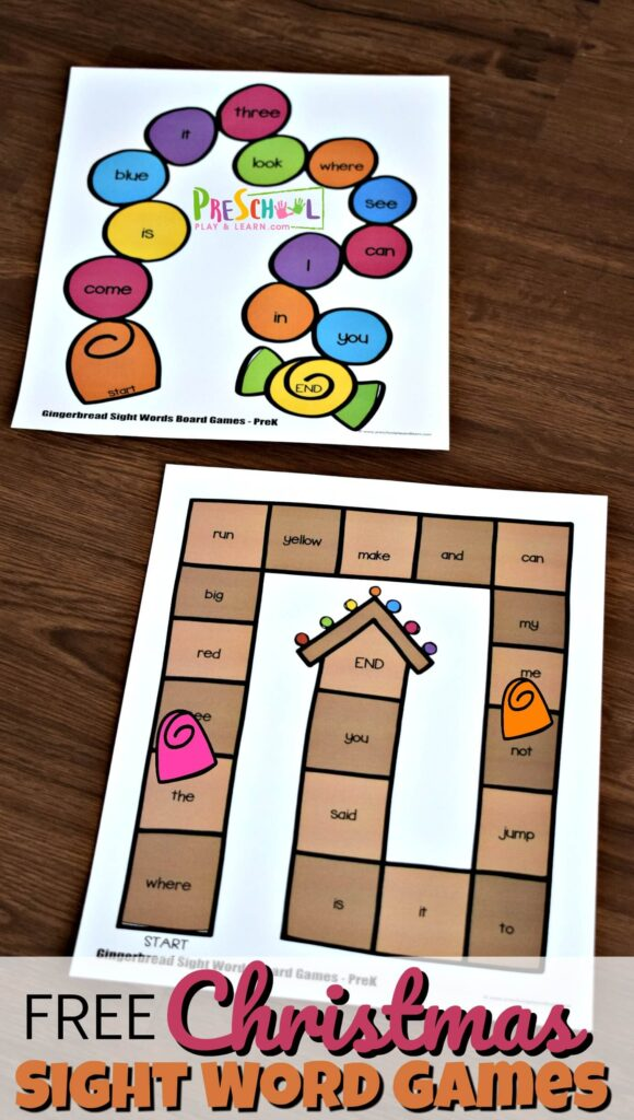 Improve reading fluency with these super cute, FREE printable,  Christmas Sight Word Games available in color or black & white. Preschool, pre-k, and kindergarten age children will love that they can use these Christmas Worksheets to make learning dolch sight words FUN in December as part of a Christmas theme or Gingerbread theme.