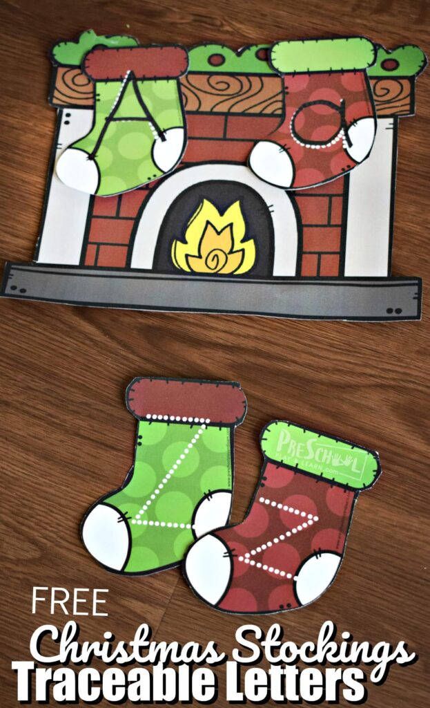 FREE Christmas Stocking Traceable Letters - this is such a fun way for preschool, prek, and kindergarten age kids to practice tracing alphabet letters with a fun Christmas theme activity #christmas #alphabet #preschool