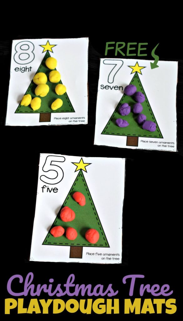 Make practicing counting to 20 fun with these super cute, free printable Christmas Playdough Mats. This hands-on Christmas Math Activities is a fun way for toddler, preschool, pre-k, and kindergarten age children to practice how to count to 20 in December using play dough! Using an engaging math activity in December is way more fun then using Christmas Math Worksheets.