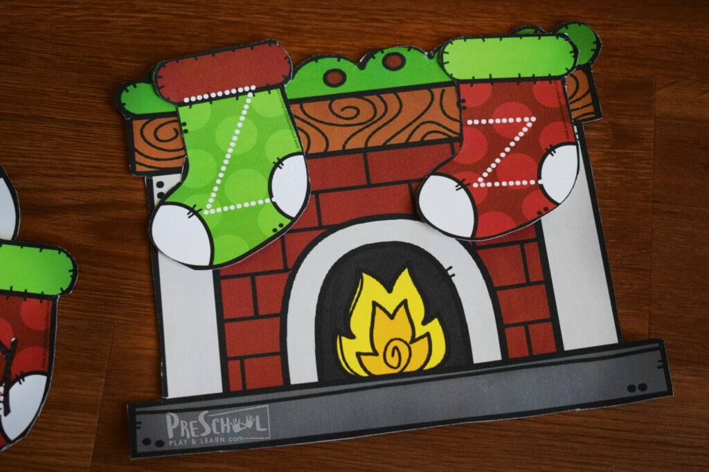 Christmas theme activity to practice matching upper and lowercase letters