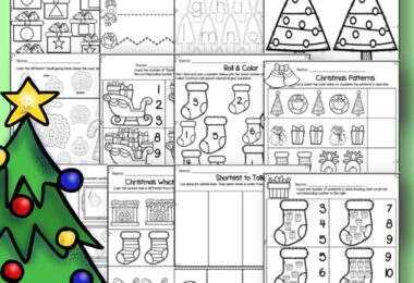 FREE Christmas Worksheets - make practicing alphabet letters, counting, shapes, colors, what comes next, patterns, and more fun with these holiday worksheets for toddler, preschool, prek, and kindergarten age kids #freeworksheets #preschool #christmas
