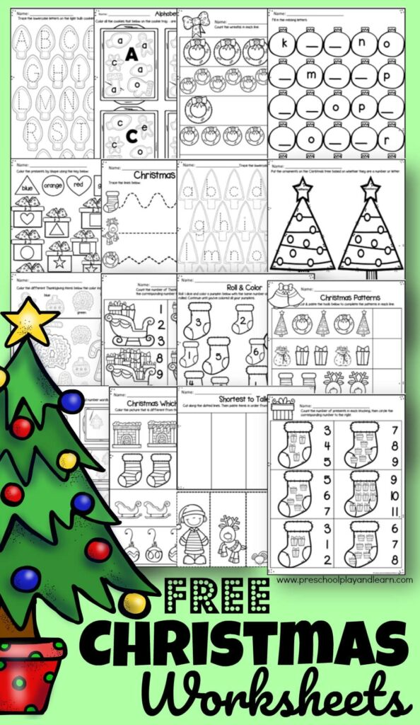 🎄 FREE Christmas Worksheets For Preschool
