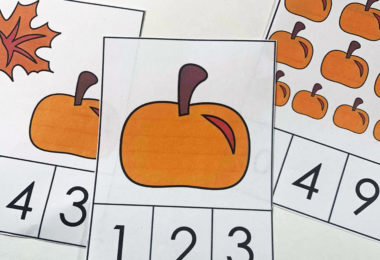 Simply cut apart the clip card and have students count the fall pumpkins and leaves and clip the correct number