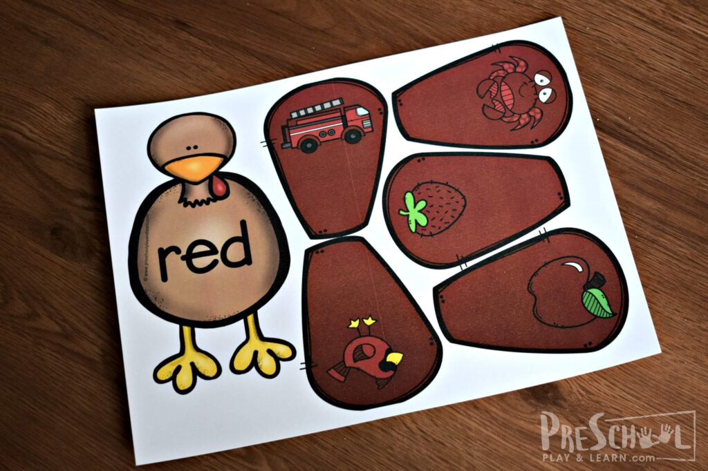 Fun way for kids to learn about colors for kids with a turkey theme