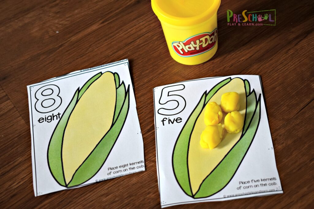 corn on the cob, fall counting mats to practice counting to 20 with playdough