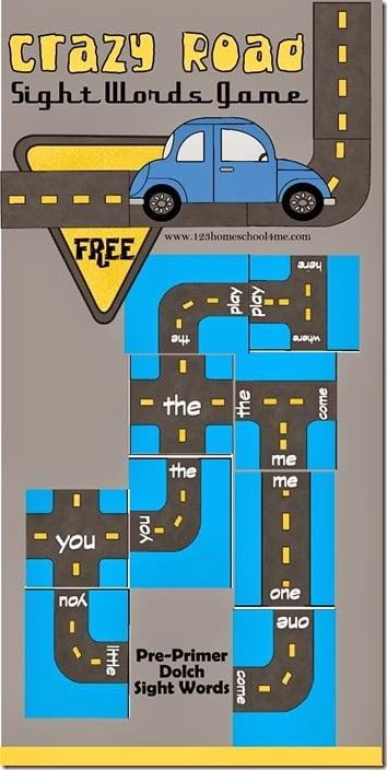FREE Crazy Roads Preschool Sight Words Game