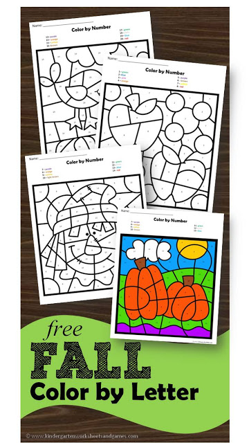 FREE Fall Color by Letter Worksheets for preschool and kindergarten age kids