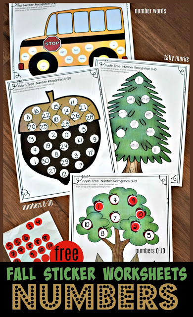 Fall Number Sticker Worksheets