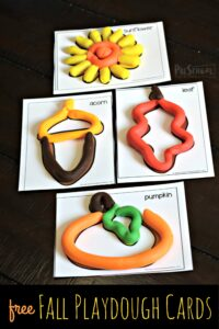 FREE Fall Playdough Cards - super cute free printable fall activity for preschool, toddler, kindergarten age kids that works on vocabulary, strengthening hand muscles, and sensory #fall #preschooL #toddler