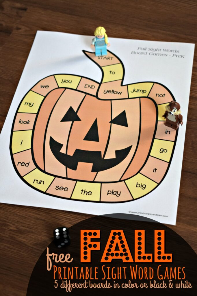 FREE Fall Printable Sight Word Games - 4 different boards you can print in color or black & white to practice pre k sight words with preschoolers and kindergartners #sightwords #fall #prek