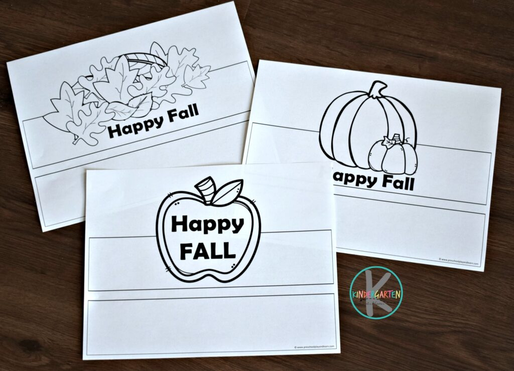 Super cute fall printables to make leaf, apple or pumpkin fall hats for toddler, preschool, and kindergarten age kids.