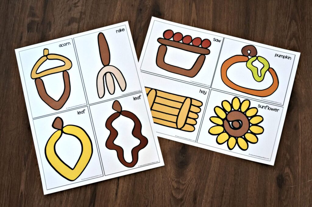 fall printables for kids to create common fall items out of playdough