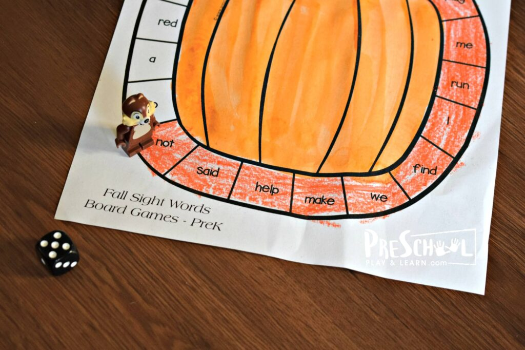 Read the preschool sight words as you go around the gameboard, coloring the spaces as you go in this fall printable