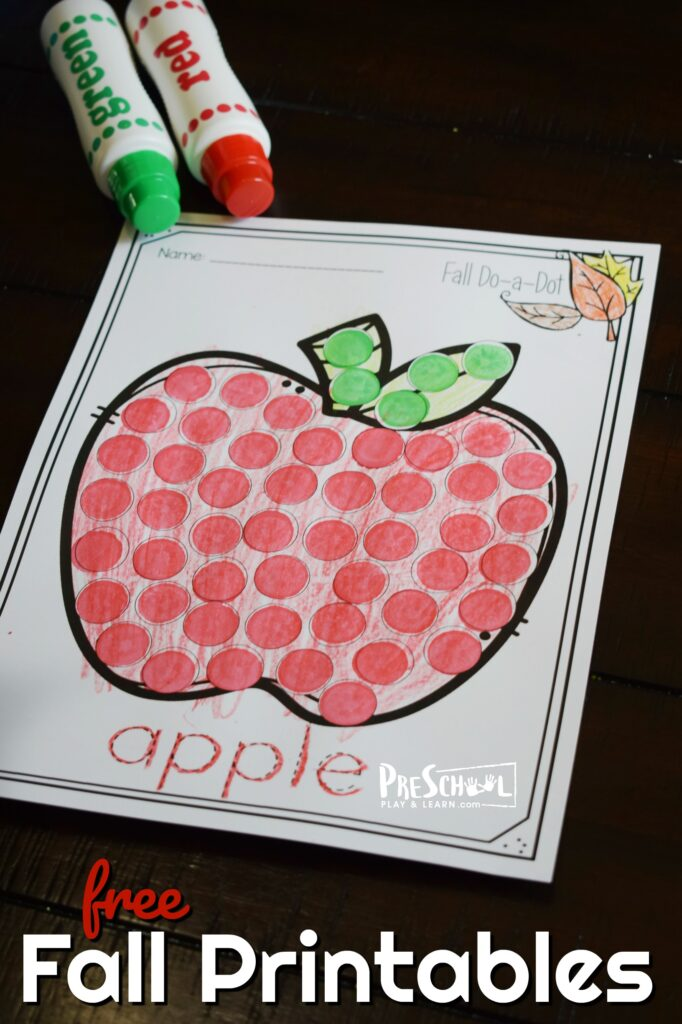 apple fall printable for toddler, preschool, prek, and kindergarten age kids