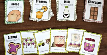 farm printables to help kids learn about the sequence from field to table