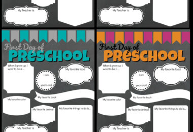 FREE First Day of Preschool Signs - super cute first day of school signs for preschoolers to remember their favorites and who they want to be when they go out! #preschool #prek #firstdayofschool