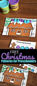 FREE Christmas Patterns for Preschoolers - Kids will have fun decorating Gingerbread while working on Christmas math activity working on Patterns as a hands-on math activity in December. #playdough #christmas #preschool