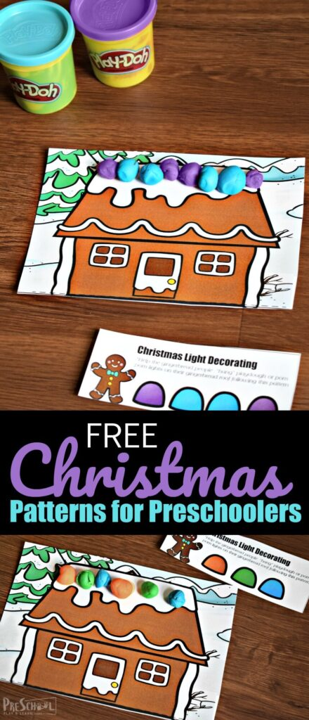 Kids will have fun decorating Gingerbread houses while working on making and completing patterns with this super cute, free printable Christmas math activities. Using these Christmas playdough mats is an engaging activity for toddler, preschool, pre-k, and kindergarten age children. Students will love working on this hands-on math activity in December even more than using Christmas Worksheets.