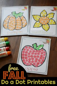 FREE Fall Do a Dot Printables - kids will have fun using dauber markers to complete these fall pictures including pumpkin, acorn, apple, sunflower, and more. Fun fall activity for preschool and kindergarten age kids #fallprintables #preschool #bingomarker
