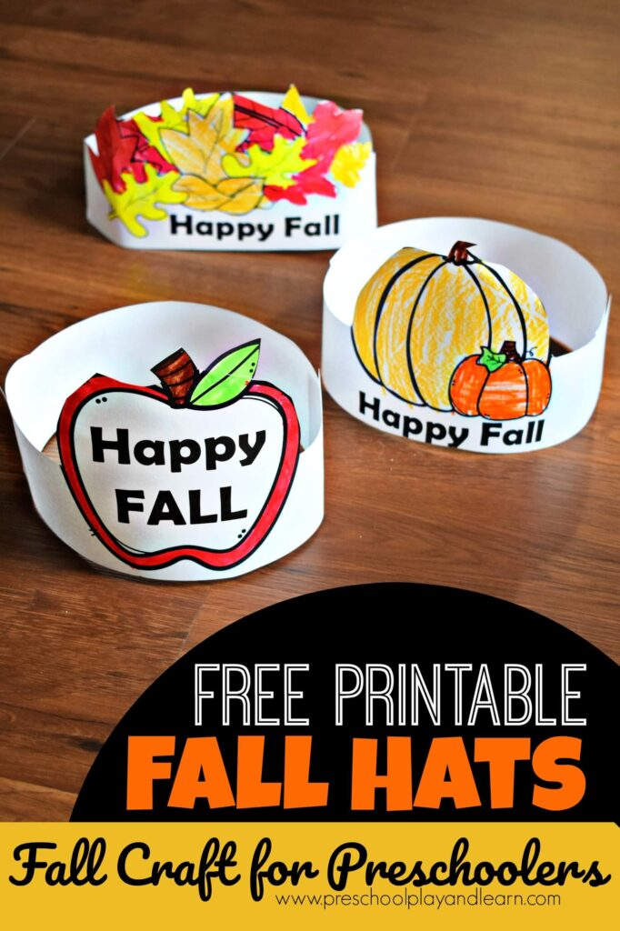 Looking for a beautiful, fun to make preschool fall crafts your toddler, preschool, pre k, and kindergarten age child will enjoy making in September, October, and November. Kids will have fun making super cute, printable fall hats with our downloadable pdf file with several templates to choose from. This is a great Fall Activity for Preschoolers!