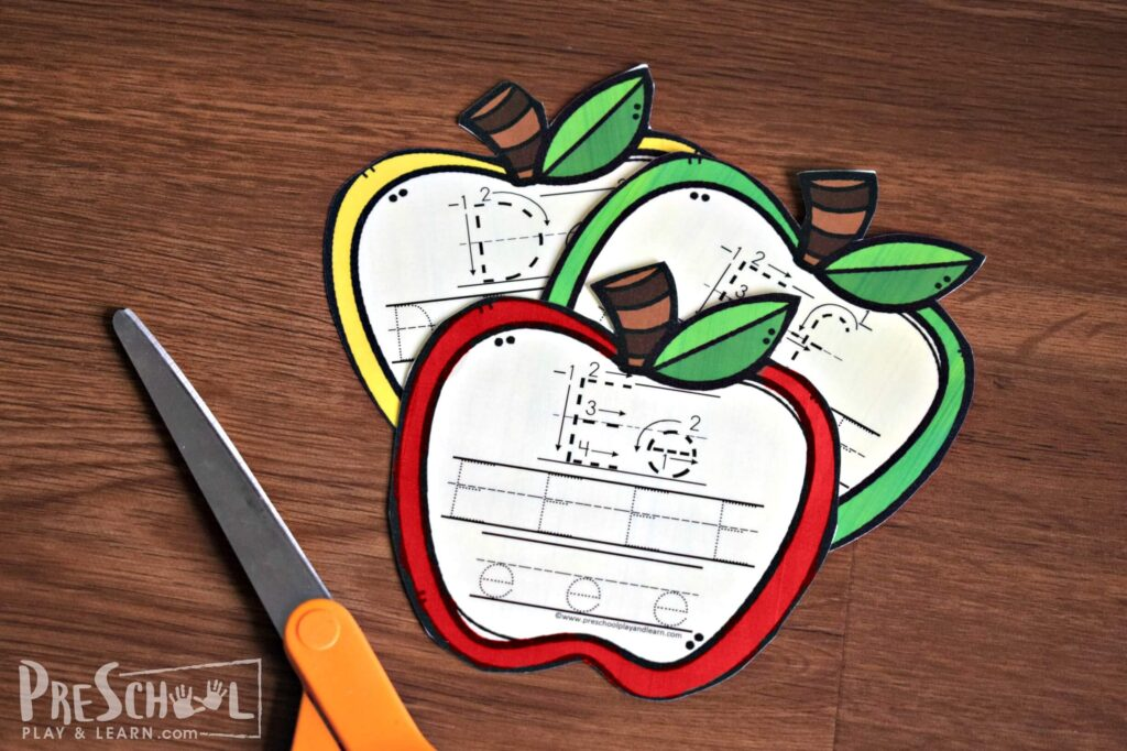 These apple tracing cards are more fun than free tracing worksheets