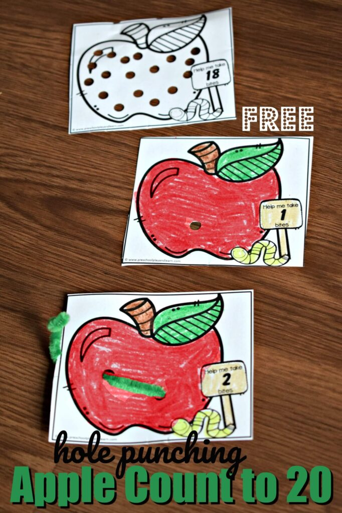 FREE Hole Punching Apple Count to 20 math activity for toddler, preschool, prek, and kindergarten age kids perfect for September and fall #preschoolmath #prek #counting
