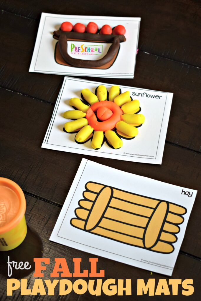 FREE Play dough mats with a fall theme! These are perfect for toddler, preschool and kindergarten age kids #playdough #fall #toddler