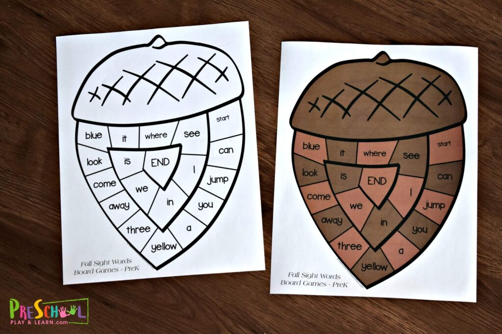 Practice preschool sight words with these fun, free printable board games perfect for fall