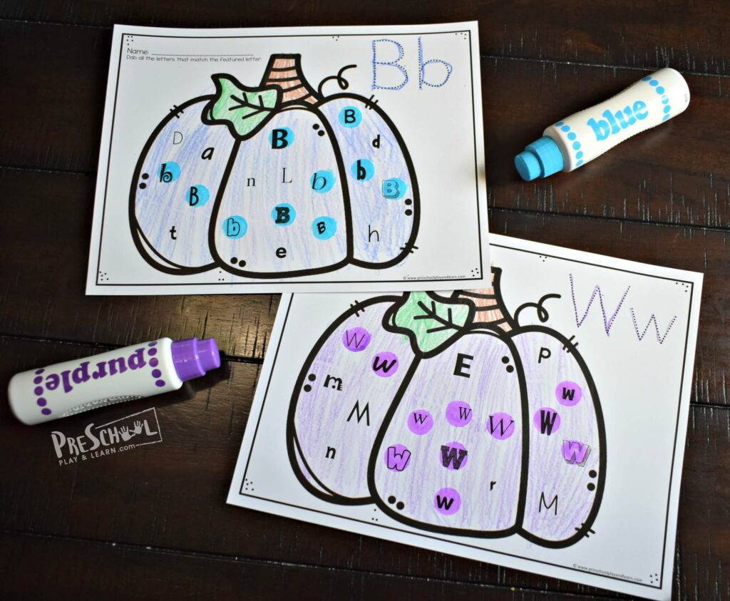free printable pumpkin alphabet do a dot worksheets for preschooelrs and kindergartners