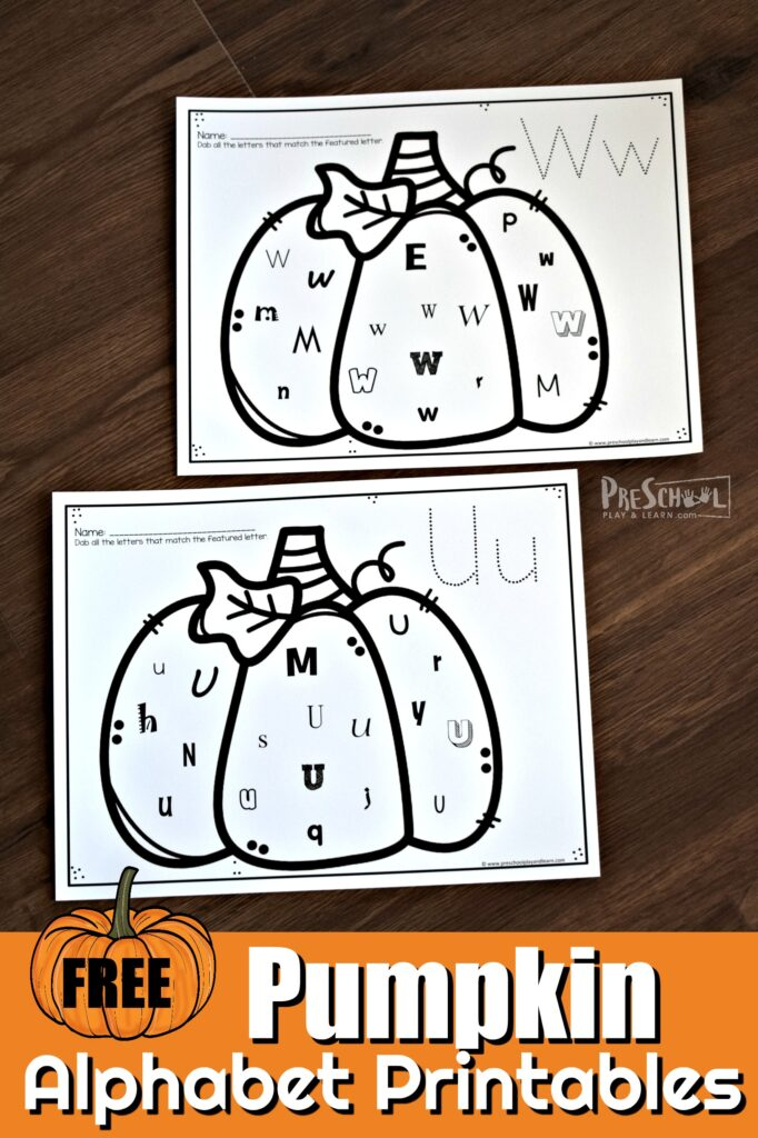 FREE Pumpkin Alphabet Printables - these worksheets are such a fun way for early learners to practice letter recognition with a no prep fall activity for preschoolers #fall #alphabet #preschool