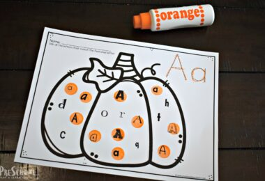 super cute fall pumpkin worksheet for prek and kindergarten age kids to work on letter recognition