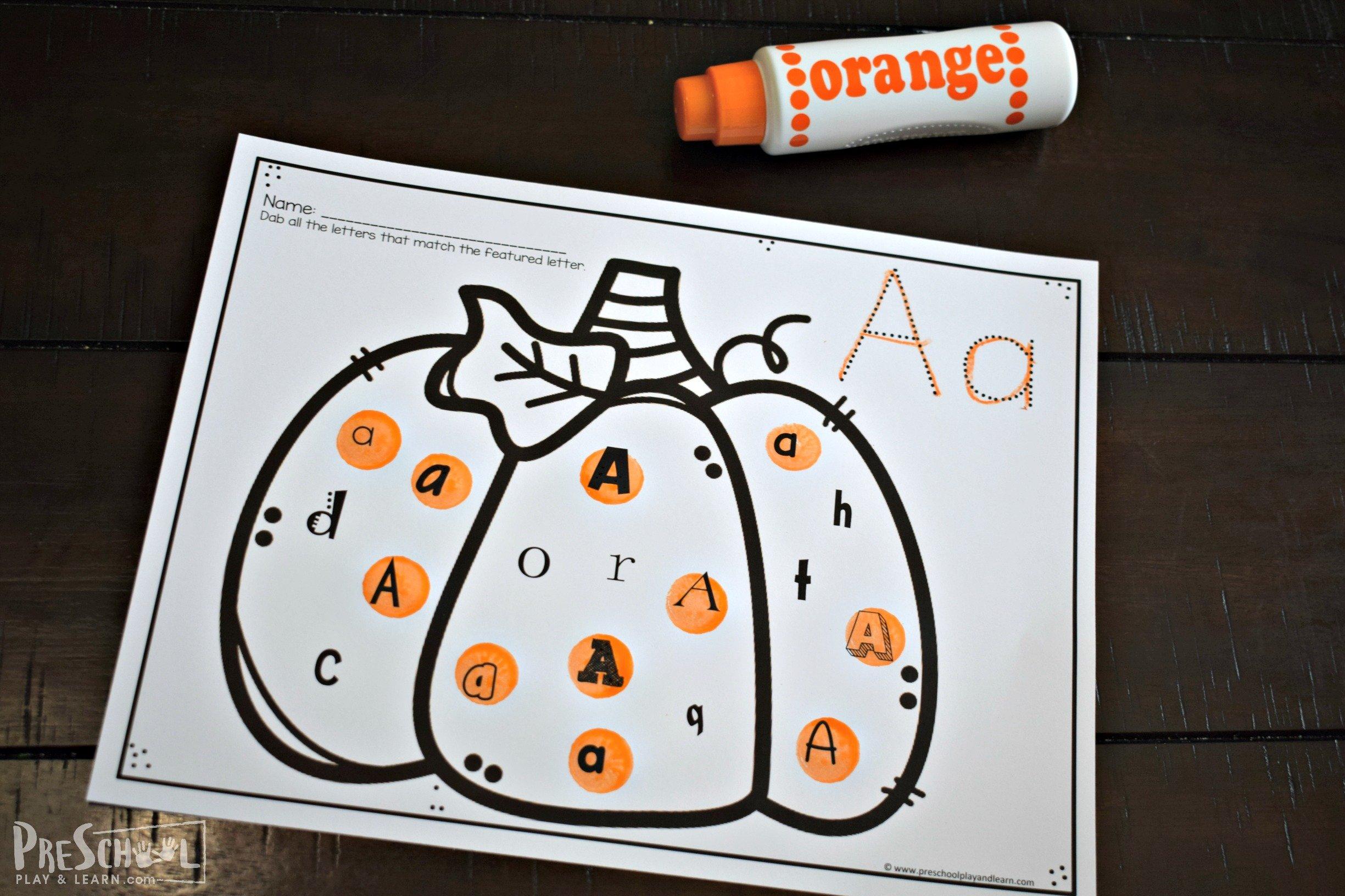 Free Pumpkin Activity Printables Find The Letter - Download Pumpkin Worksheets For Kindergarten PNG
