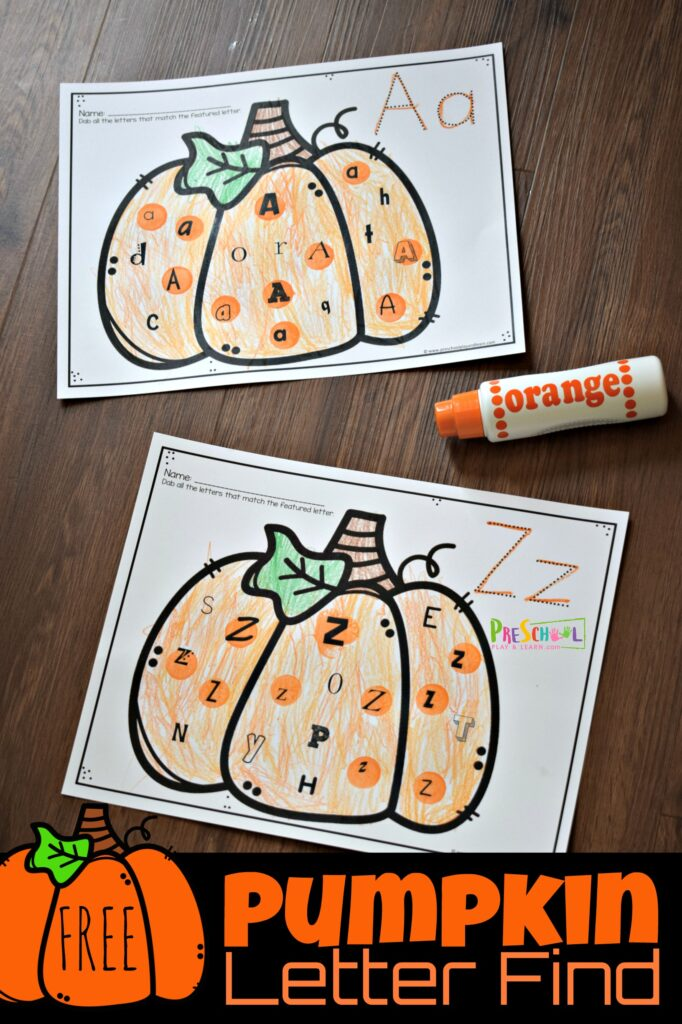 FREE Pumpkin Letter Find - super cute alphabet printable to help prek and kindergarten age kids practice letter recognition with a fun fall themed educational activity #pumpkin #alphabet #prek